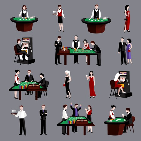 ruleta: Gente atractiva joven en iconos planos de juego del casino conjunto aislado ilustraci�n vectorial