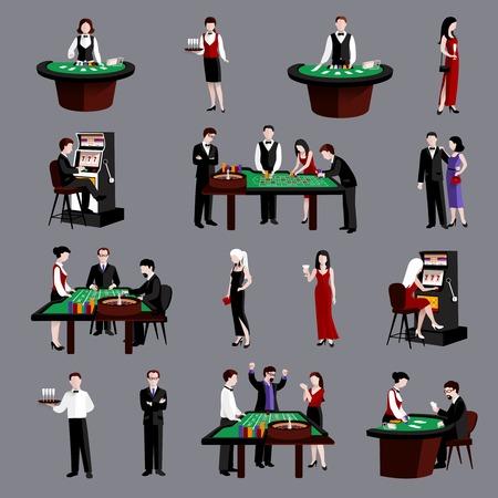 roulette: I giovani attraenti in icone piane di gioco del casino insieme isolato illustrazione vettoriale