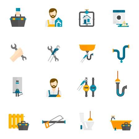 配管工、バスルームとトイレの修理やメンテナンスのフラット アイコン設定分離ベクトル図
