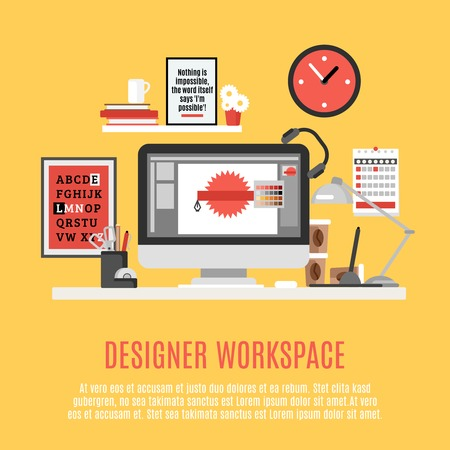 trabajando en casa: Diseñador espacio de trabajo de oficina en casa con la computadora de escritorio y de trabajo herramientas de ilustración vectorial plana