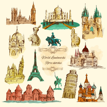 hagia sophia: World landmarks sketch colour vintage icons set isolated vector illustration