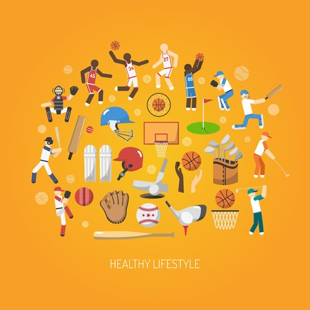 cricket helmet: Sport and healthy lifestyle concept with flat players and accessories icons set vector illustration Illustration