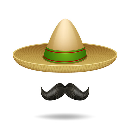 straw hat: Sombrero and mustache mexican symbols decorative icons set isolated vector illustration Illustration