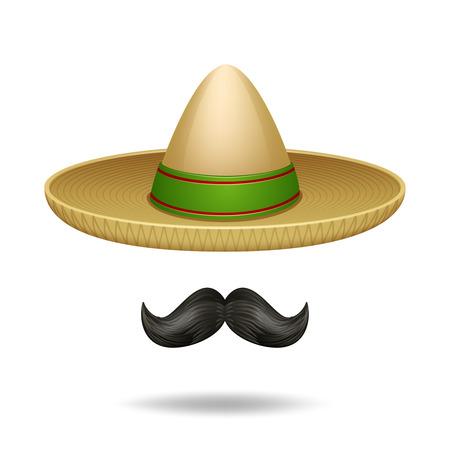 caricatura mexicana: Sombrero y bigote s�mbolos mexicanos iconos decorativos conjunto aislado ilustraci�n vectorial Vectores