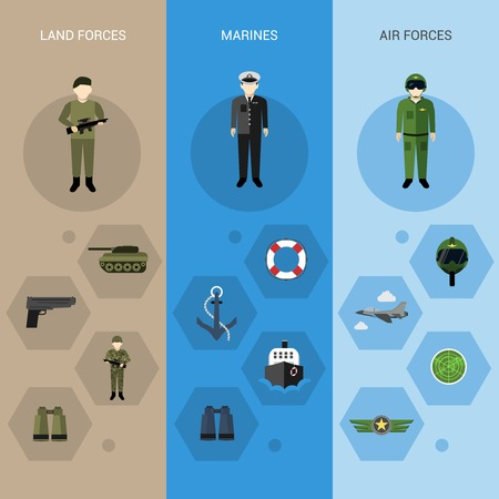 the air attack: Military banners vertical set with land air marines forces elements isolated vector illustration Illustration
