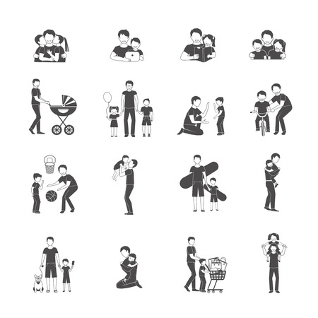 fatherhood: Fatherhood black icon set with happy family holidays symbols isolated vector illustration Illustration