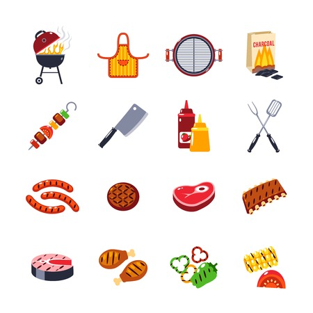 hamburgers: Barbecue and grill icon set with beef and fish steak and kitchen tools isolated vector illustration