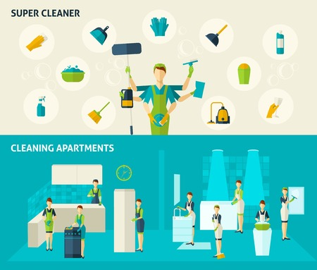 hoover: Super cleaner and cleaning apartments color flat horizontal banners set isolated vector illustration