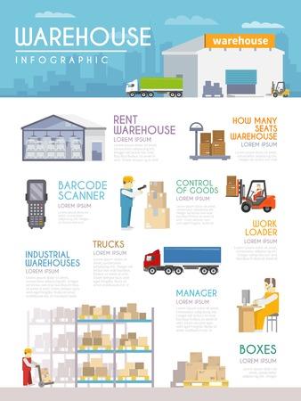 carretillas almacen: Infograf�a Almac�n establecidos con la entrega de bienes y s�mbolos mercanc�as ilustraci�n vectorial Vectores