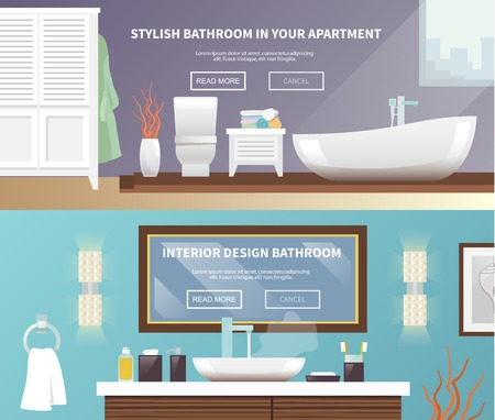 Bathroom furniture horizontal banner set with stylish apartment interior flat elements isolated vector illustration Illustration