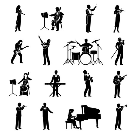 Rock pop and classical musicians icons black silhouettes set isolated vector illustration Ilustração