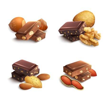 dark chocolate: Dark and milk chocolate with nuts realistic set isolated vector illustration