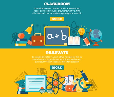 classroom: Education horizontal banner set with classroom and graduate elements isolated vector illustration