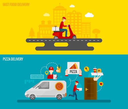 Fast food en pizza bezorging door een koerier aan de deur horizontale spandoeken flat geïsoleerd vector illustratie