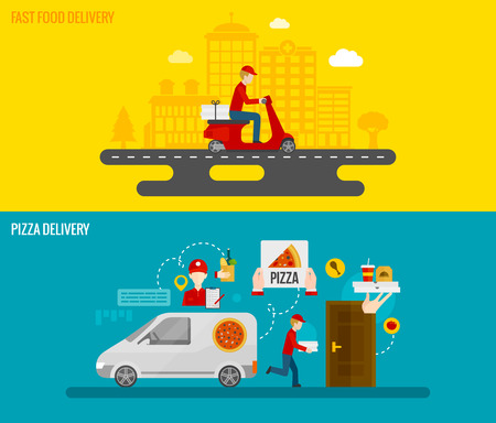 Fast food and pizza delivery by courier to the door horizontal banners set flat isolated vector illustration