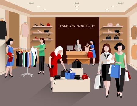 fiatal nők: Divat butik fiatal nők fogyasztók és divat ruházat lapos vektoros illusztráció Illusztráció