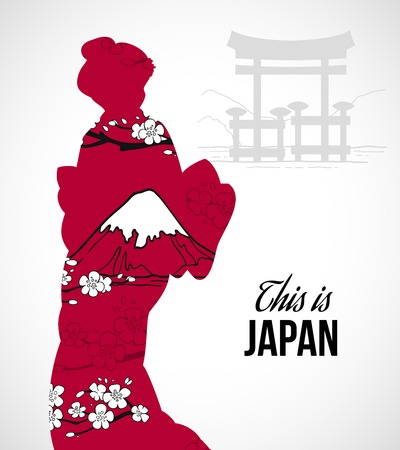asian woman: Geisha silhouette with sakura flowers and mountains poster vector illustration