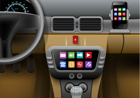 Realistic auto interior with car multimedia system and smartphone vector illustration