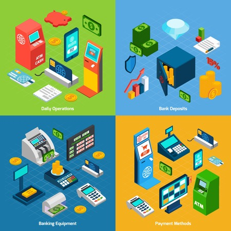 cash machine: Banking design concept set with daily operations deposits equipment payment methods isometric icons isolated vector illustration