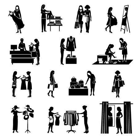 siluetas mujeres: Las mujeres de la moda de compras siluetas iconos negros fijaron aislado ilustración vectorial