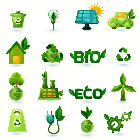leaf water: Green ecology and alternative energy with leafs icons set isolated vector illustration