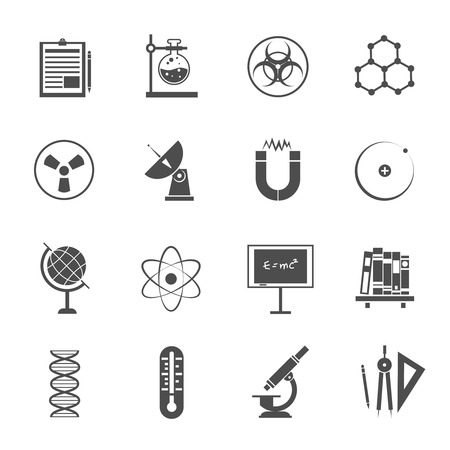 biophysics: Biophysics experimental science lab research black icons set with dna molecule model pictogram abstract isolated vector illustration
