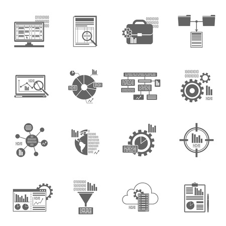 Data analytics database filter and information security black icons set isolated vector illustration Illustration