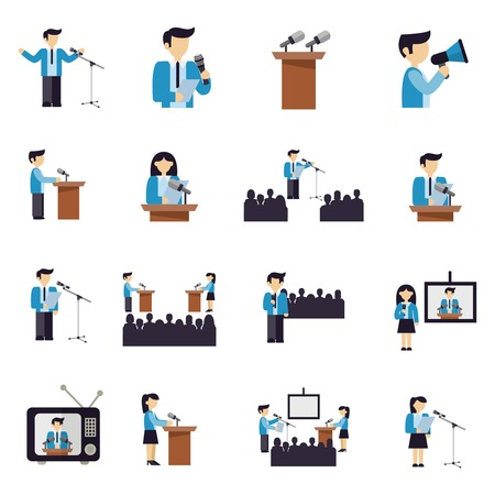 politicians: Public speaking businessmen and politicians icons flat set isolated vector illustration