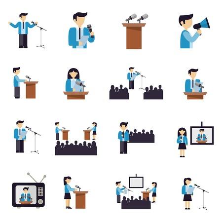 Spreken in het openbaar zakenlieden en politici pictogrammen platte set geïsoleerd vector illustratie Stock Illustratie