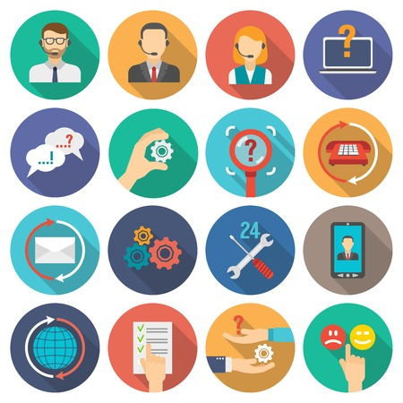 business desk: Technical support and customer assistance icons flat set isolated vector illustration Illustration