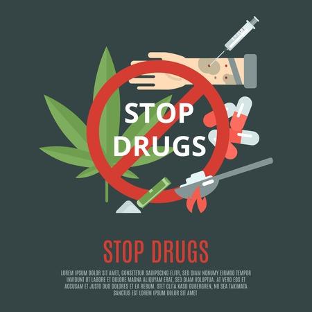 ストップ薬物マリファナ葉シリンジと概念とフラット アイコン セット ベクトル図の丸薬  イラスト・ベクター素材