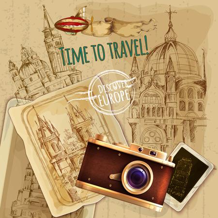 Europa viajar con la cámara y el globo cartel de la vendimia ilustración vectorial