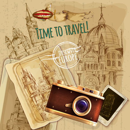 travel collage: Europe travel with camera and balloon vintage poster vector illustration Illustration
