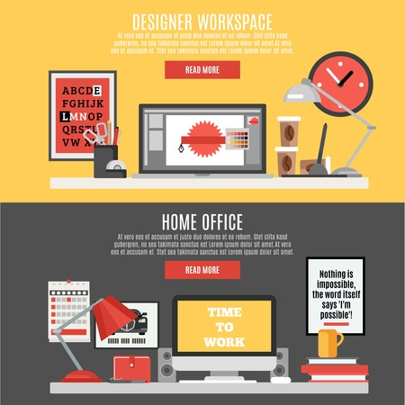 business abstract: Designer workspace and home office horizontal banner set isolated vector illustration Illustration