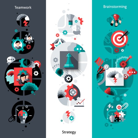 trabajo en equipo: Banner vertical Trabajo en equipo configurado con lluvia de ideas y estrategias elementos planos aislados ilustración vectorial