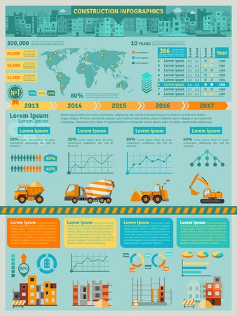 industrial vehicle: Construction infographics set with building machines symbols and charts vector illustration
