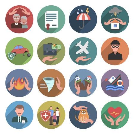 Verzekeringen pictogrammen platte set met geïsoleerde natuurrampen gezondheid en bescherming van eigendom symbolen vector illustratie