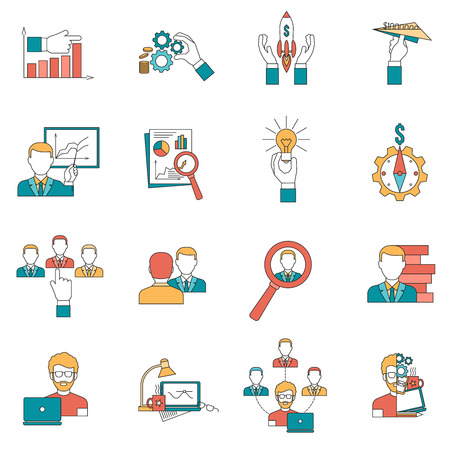 realization: Business with startup ideas realization and team icons set flat isolated vector illustration