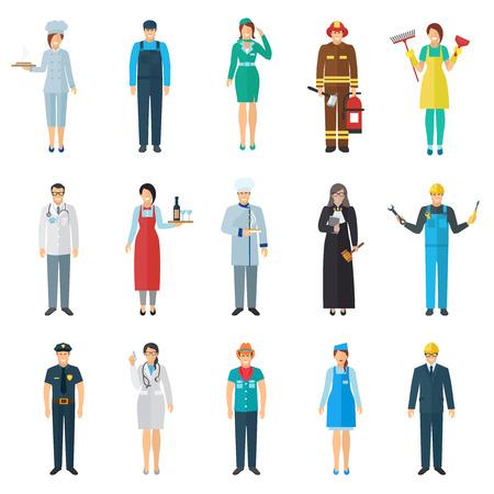 brandweer cartoon: Beroep en werk avatar met staande mensen pictogrammen set platte geïsoleerde vector illustratie