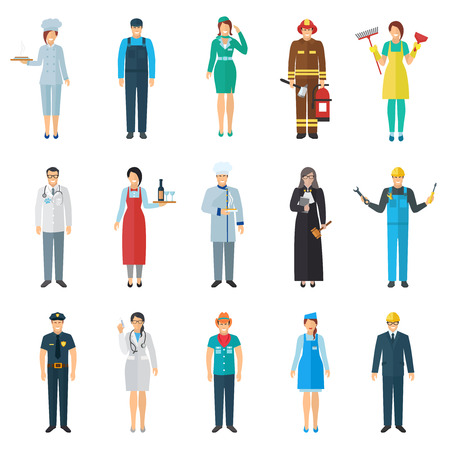 enfermera caricatura: Profesi�n y avatar trabajo con iconos de personas de pie fij� plana aislado ilustraci�n vectorial