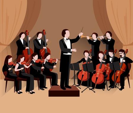 orquesta clasica: Orquesta sinf�nica con conductor de violines chello y trompeta m�sicos ilustraci�n vectorial plana
