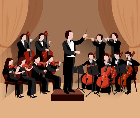 symphony: Symphonic orchestra with conductor violins chello and trumpet musicians flat vector illustration