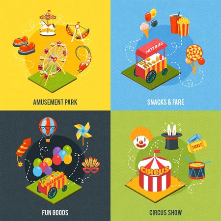 carnival clown: Carnival design concept with amusement park and circus show isometric icons isolated vector illustration Illustration