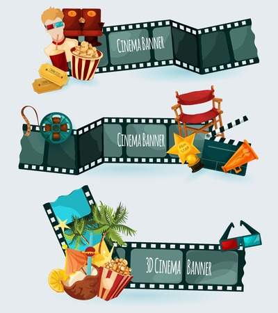 filmstrip: Cinema banners set with cartoon film elements isolated vector illustration