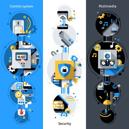 home video: Smart house vertical banners set with security multimedia control system flat elements isolated vector illustration