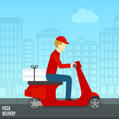 preference: Pizza delivery by courier on scooter in the city icon flat vector illustration Illustration