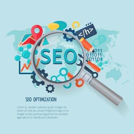 Seo marketing concept with research symbols world map and magnifier vector illustration