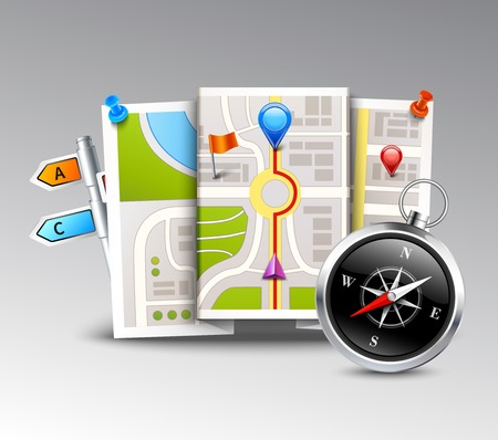 routing: Navigation realistic background with compass map and distance points vector illustration