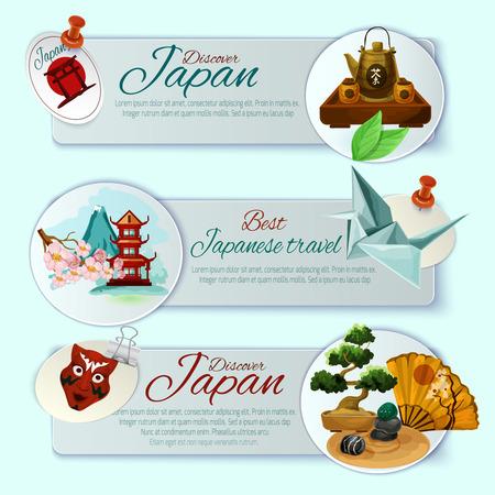 haiku: Japan welcome traveling horizontal banner set isolated vector illustration