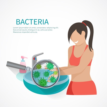liquid soap: Hygiene concept with woman washing hands and bacteria icons flat vector illustration